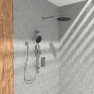 KIT-NOB145TS2DBTCP Robinet de douche chrome poli dans douche en pierre et mur fini bois