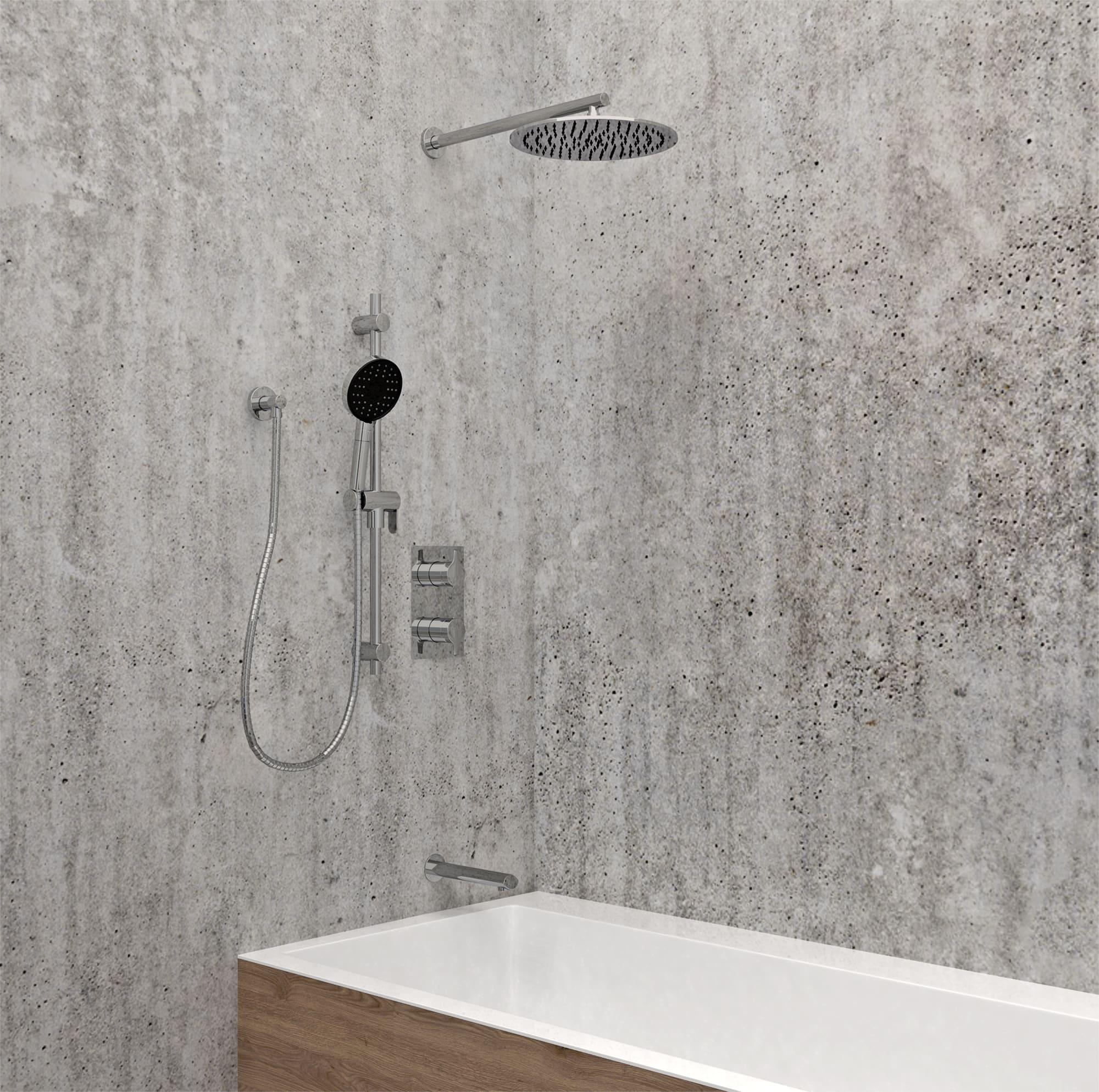 KIT-NOB160TS3TCP Robinet de douche chrome poli avec mur fini pierre, et bain.