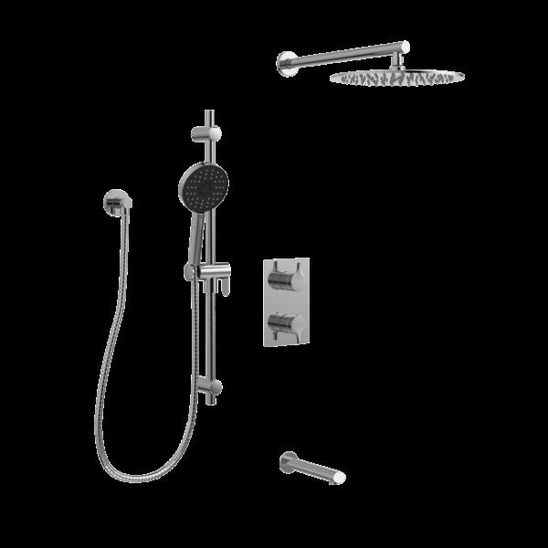 KIT-NOB160TS3TCP Robinet de douche avec pomme de douche, douche à main et bec de bain sur fond blanc