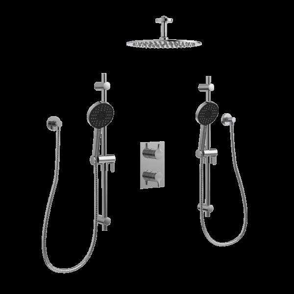 KIT-NOB163TS3TCP Robinet de douche avec une pomme de douche, deux douches à main sur fond blanc