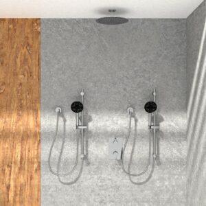 KIT-NOB163TS3TCP Robinet de douche chrome poli avec une pomme de douche, deux douches à main sur fond blanc