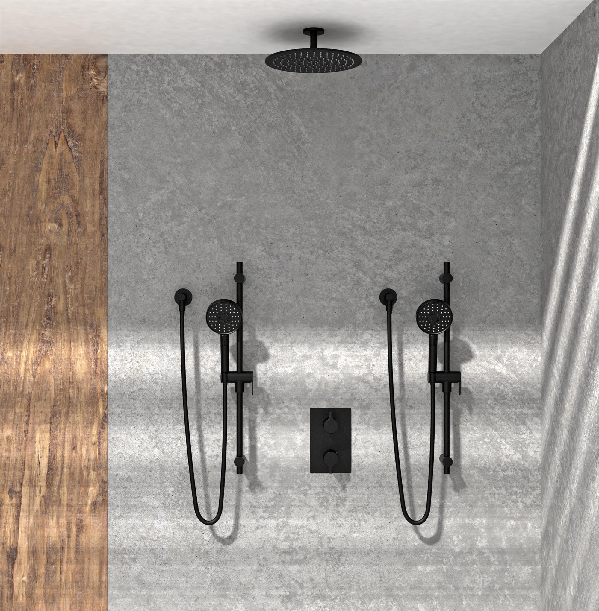 KIT-NOB163TS3TMB Robinet de douche noir mat avec une pomme de douche, deux douches à main dans douche en pierre