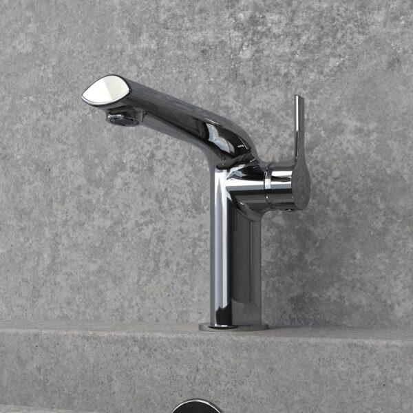 NOB22CP - robinet de lavabo chrome poli avec mur en granit