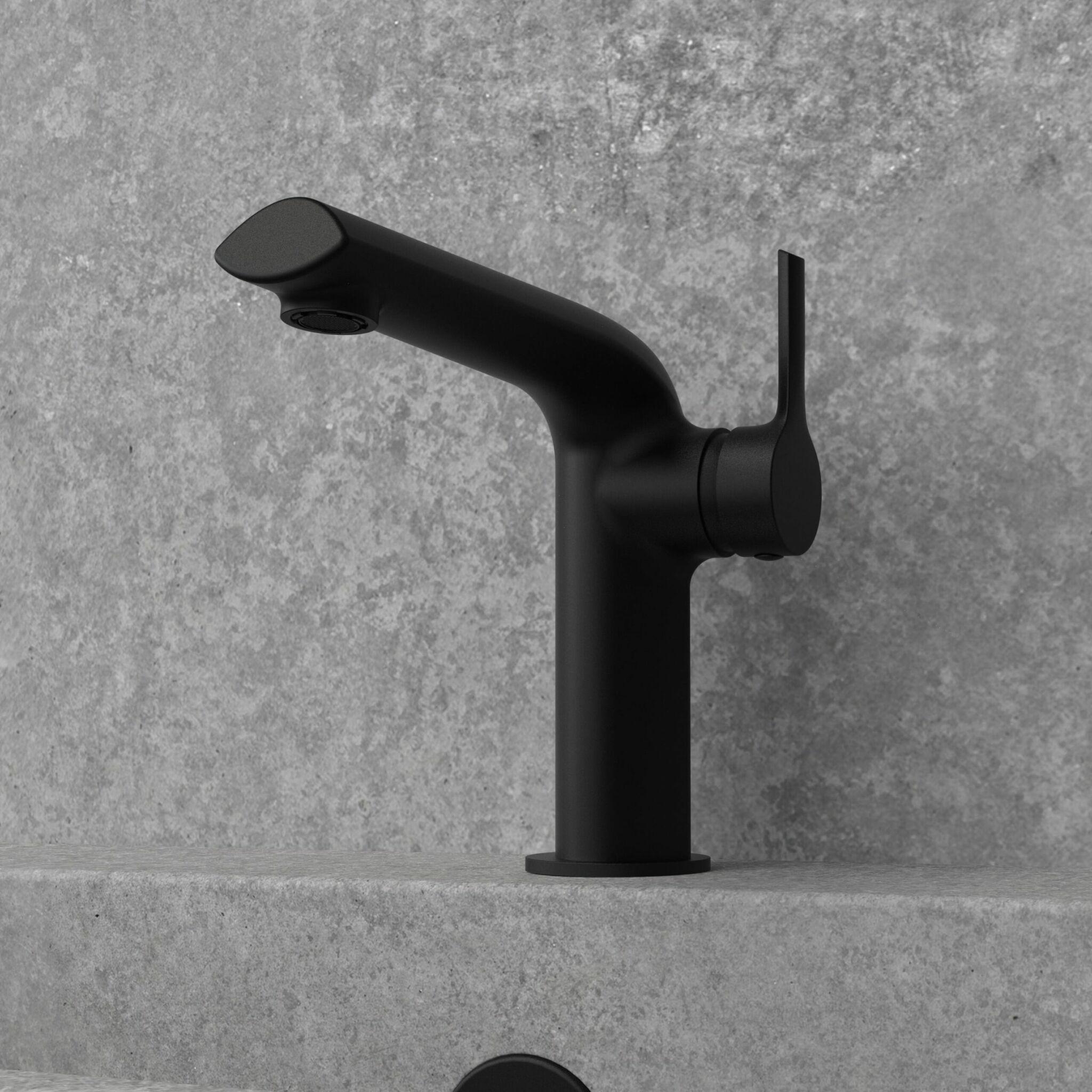 NOB22MB - robinet de lavabo noir mat avec mur granit