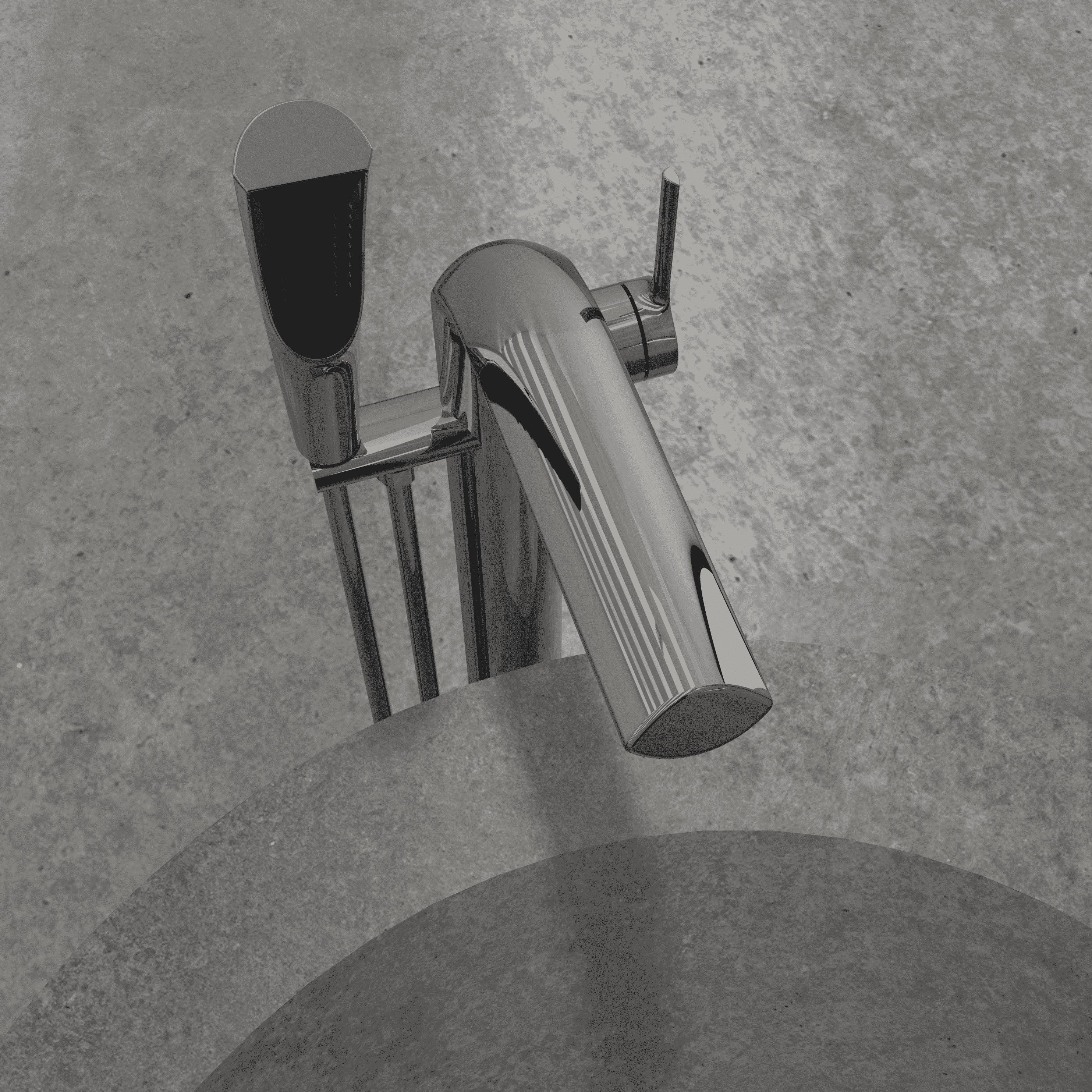 NOB45CP robinet de baignoire autoportant chrome poli avec mur de pierre