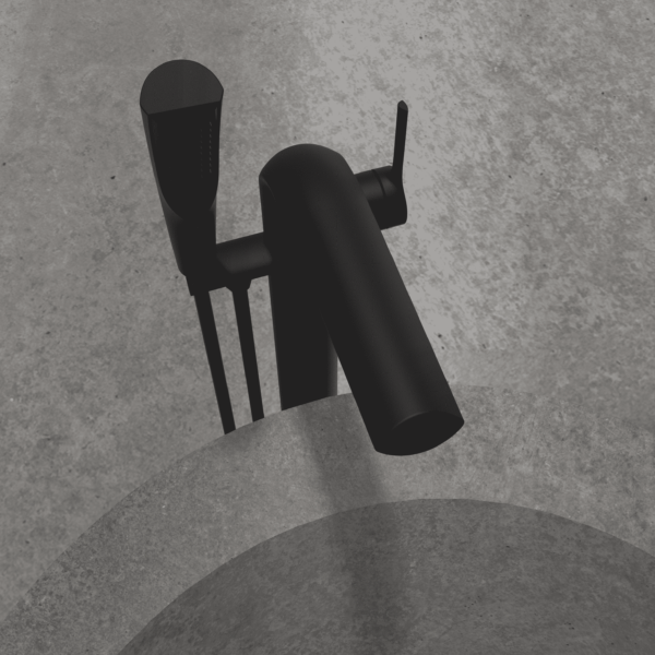 NOB45MB robinet de baignoire autoportant noir mat avec mur en pierre