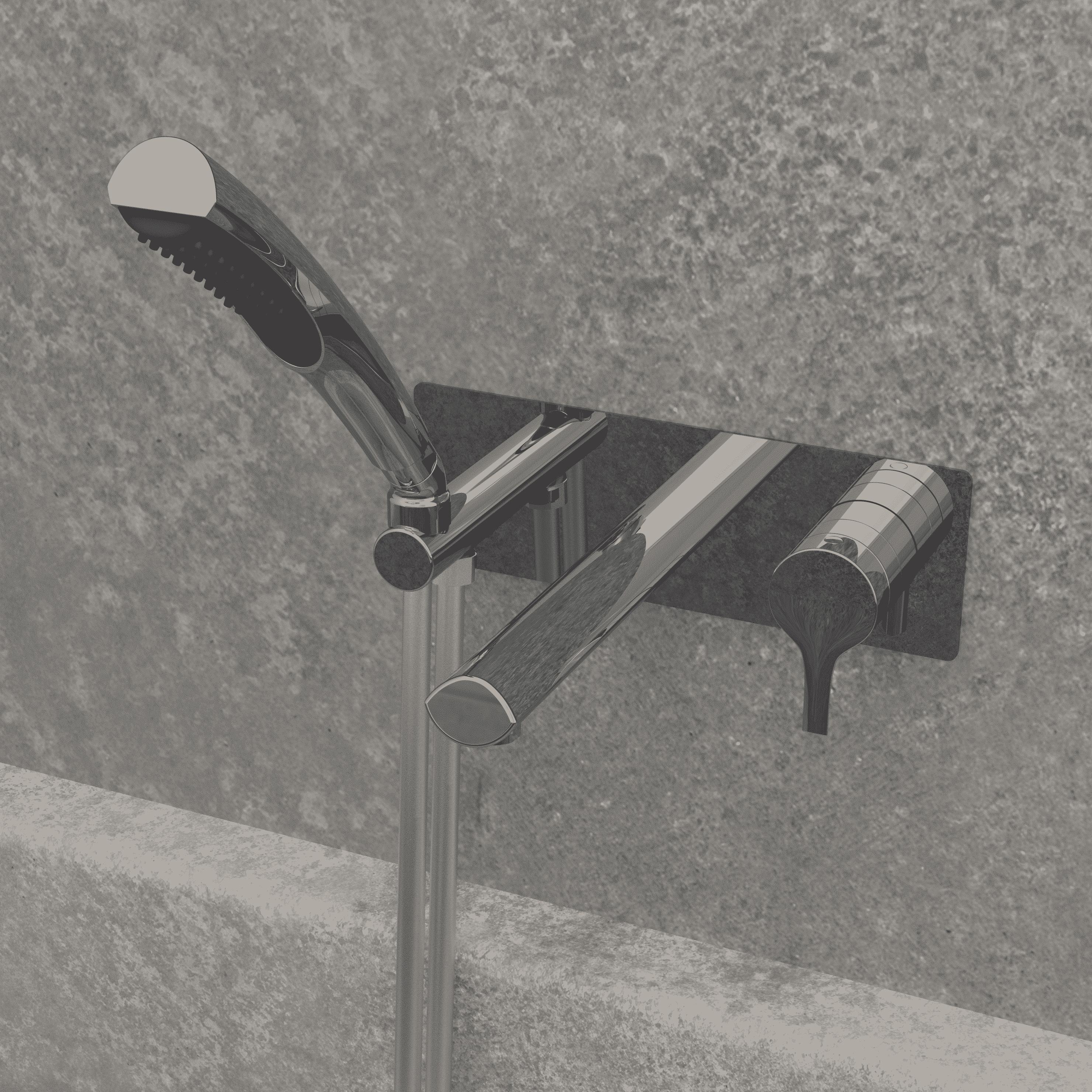 NOB47TCP robinet de baignoire mural chrome poli avec mur de pierre