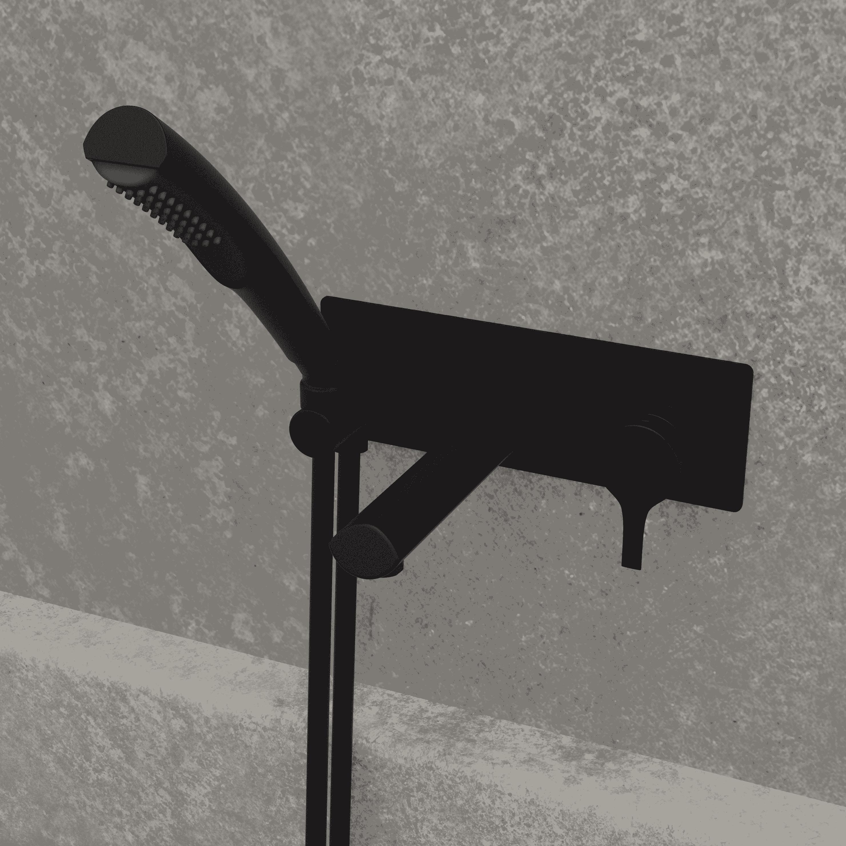 NOB47TMB robinet de baignoire mural noir mat avec mur en granit