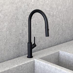 NOB78MBR - Robinet de cuisine rond noir mat avec mur en granit