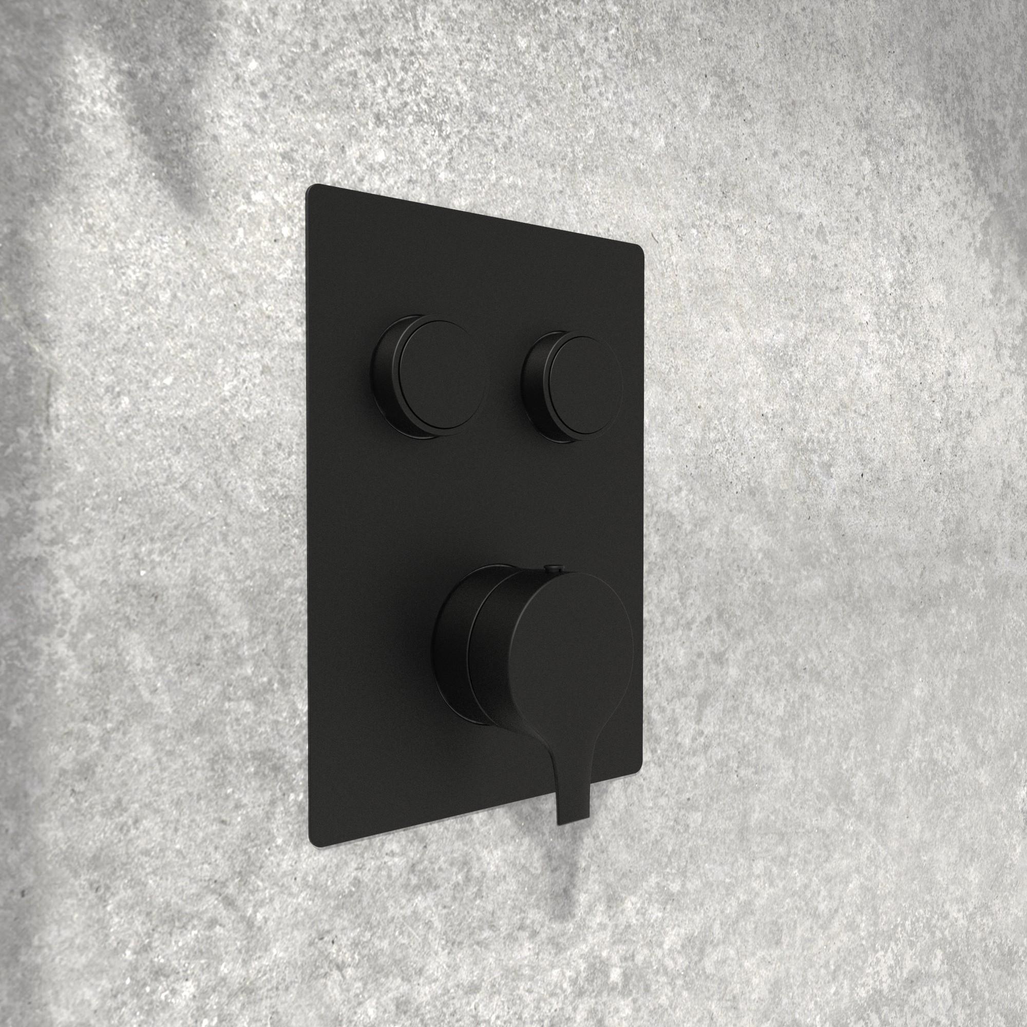 NOB98TS2DBTMB valve de robinet de douche noir mat sur fond pierre