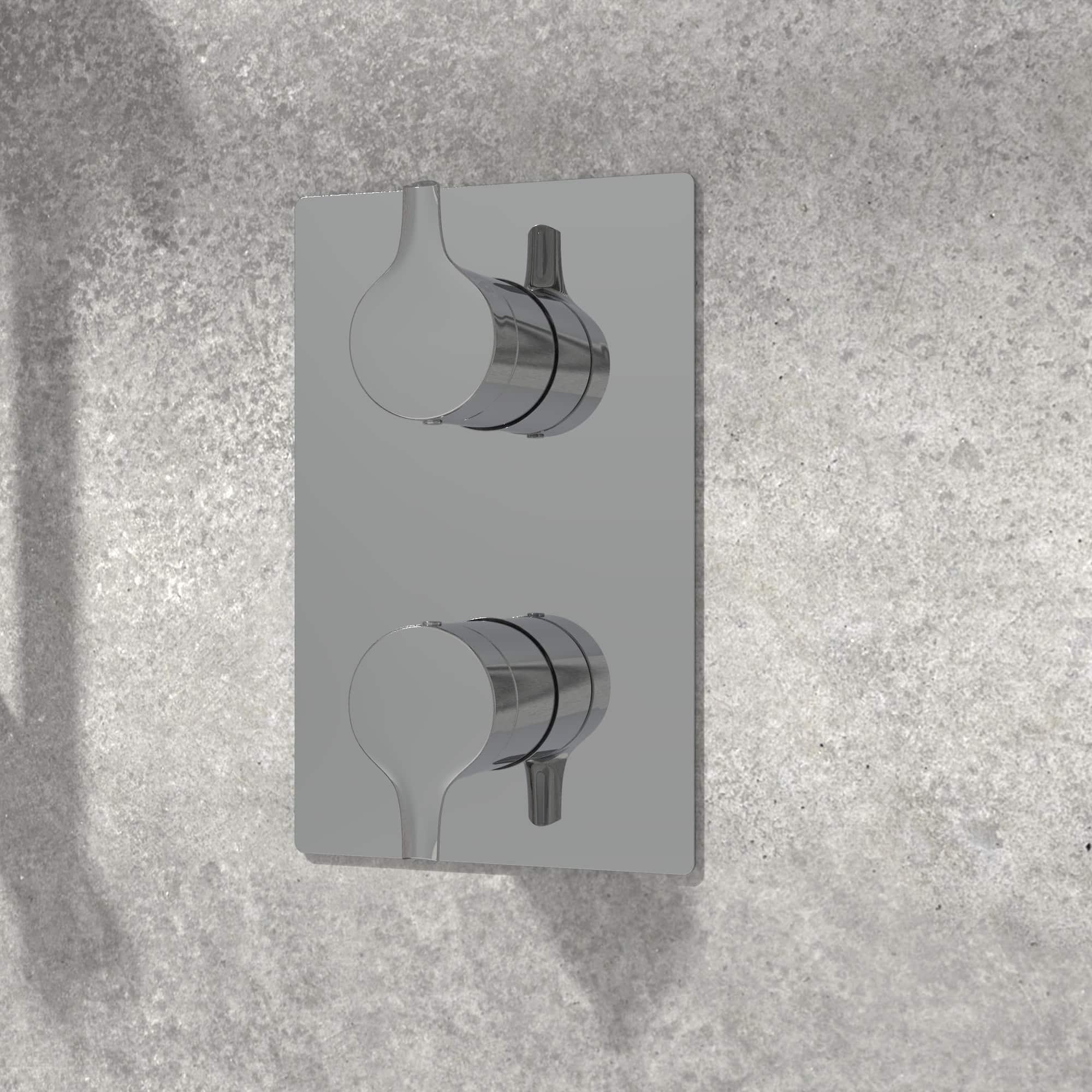 NOB98TS2TCP valve de robinet chrome poli sur mur de pierre