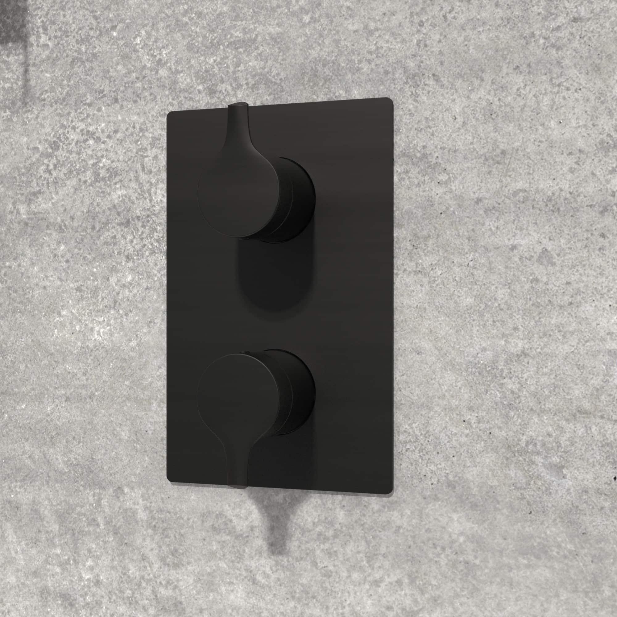 NOB98TS2TMB valve de robinet noir mat sur mur de pierre